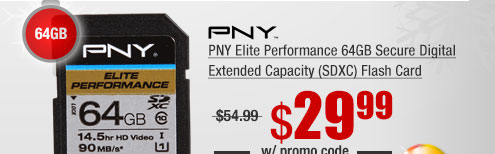 PNY Elite Performance 64GB Secure Digital Extended Capacity (SDXC) Flash Card