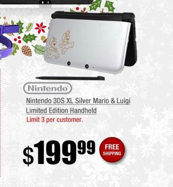 Nintendo 3DS XL Silver Mario & Luigi Limited Edition Handheld