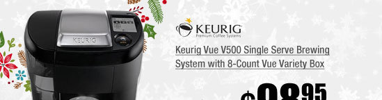 Keurig Vue V500 Single Serve Brewing System with 8-Count Vue Variety Box