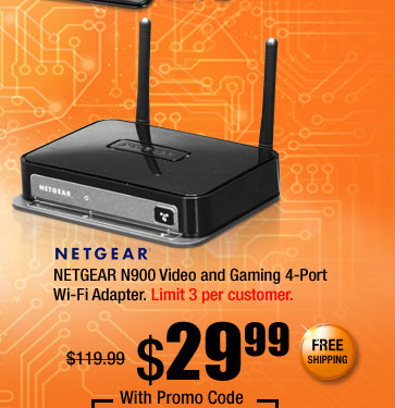 NETGEAR N900 Video and Gaming 4-Port Wi-Fi Adapter