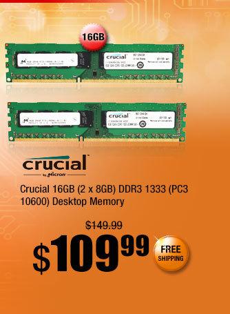 Crucial 16GB (2 x 8GB) DDR3 1333 (PC3 10600) Desktop Memory