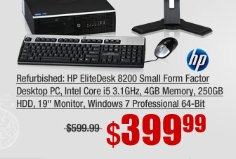 "Refurbished: HP EliteDesk 8200 Small Form Factor Desktop PC, Intel Core i5 3.1GHz, 4GB Memory, 250GB HDD, 19"" Monitor, Windows 7 Professional 64-Bit"