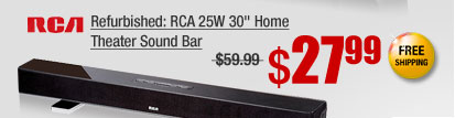"Refurbished: RCA 25W 30"" Home Theater Sound Bar"