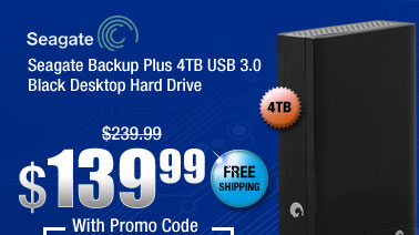 Seagate Backup Plus 4TB USB 3.0 Black Desktop Hard Drive