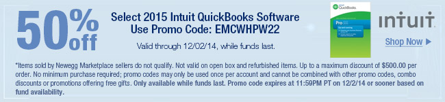 Intuit - 50% OFF select 2015 Intuit quickbooks software.