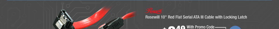"""Rosewill 10"""" Red Flat Serial ATA III Cable with Locking Latch"""