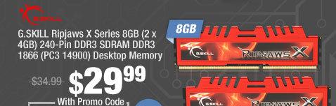 G.SKILL Ripjaws X Series 8GB (2 x 4GB) 240-Pin DDR3 SDRAM DDR3 1866 (PC3 14900) Desktop Memory
