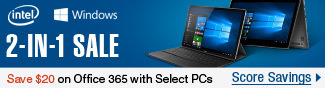 2-in-1 Sale. Save $20 on Office 365 with select PCs