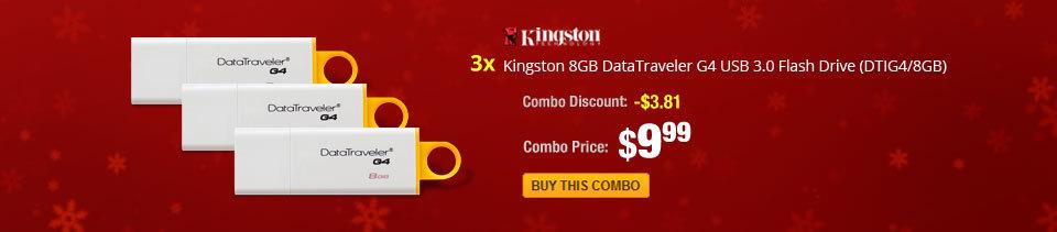 Combo: 3x - Kingston 8GB DataTraveler G4 USB 3.0 Flash Drive (DTIG4/8GB)