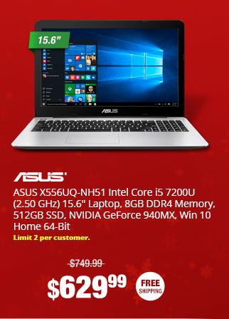 """ASUS X556UQ-NH51 Intel Core i5 7200U (2.50 GHz) 15.6"""" Laptop, 8GB DDR4 Memory, 512GB SSD, NVIDIA GeForce 940MX, Win 10 Home 64-Bit"""