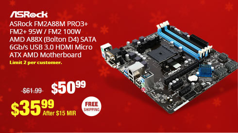 ASRock FM2A88M PRO3+ FM2+ 95W / FM2 100W AMD A88X (Bolton D4) SATA 6Gb/s USB 3.0 HDMI Micro ATX AMD Motherboard