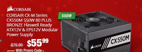 CORSAIR CX-M Series CX550M 550W 80 PLUS BRONZE Haswell Ready ATX12V & EPS12V Modular Power Supply