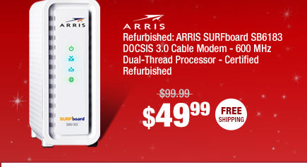 Refurbished: ARRIS SURFboard SB6183 DOCSIS 3.0 Cable Modem - 600 MHz Dual-Thread Processor - Certified Refurbished