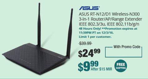 ASUS RT-N12/D1 Wireless-N300 3-in-1 Router/AP/Range Extender IEEE 802.3/3u, IEEE 802.11b/g/n