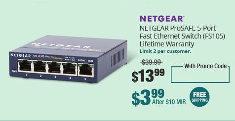 NETGEAR ProSAFE 5-Port Fast Ethernet Switch (FS105) - Lifetime Warranty