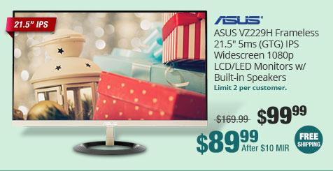 """ASUS VZ229H Frameless 21.5"""" 5ms (GTG) IPS Widescreen 1080p LCD/LED Monitors w/ Built-in Speakers"""