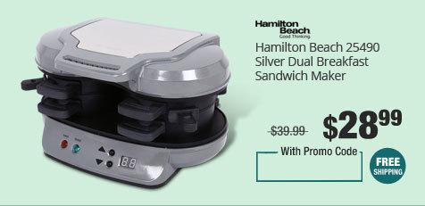 Hamilton Beach 25490 Silver Dual Breakfast Sandwich Maker