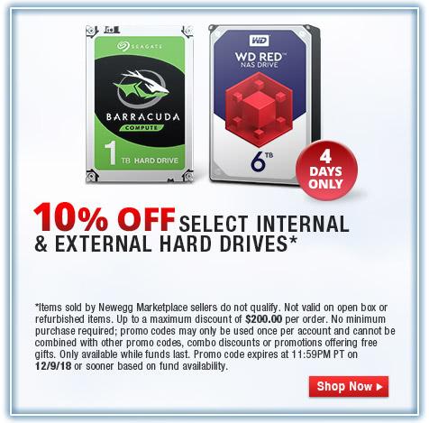 10% OFF SELECT INTERNAL & EXTERNAL HARD DRIVES*