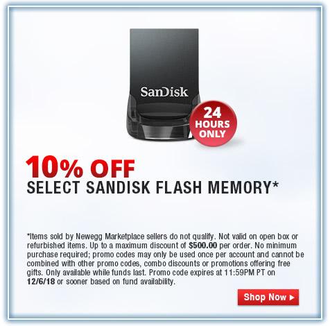 10% OFF SELECT SANDISK FLASH MEMORY*