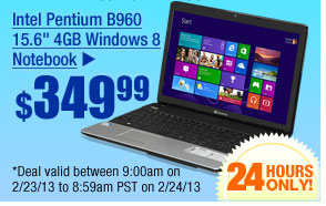 "$349.99 -- INTEL PENTIUM B960 15.6"" 4GB WINDOWS 8 NOTEBOOK"
