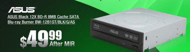 ASUS Black 12X BD-R 8MB Cache SATA Blu-ray Burner BW-12B1ST/BLK/G/AS