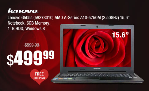 "Lenovo G505s (59373010) AMD A-Series A10-5750M (2.50GHz) 15.6"" Notebook, 6GB Memory, 1TB HDD, Windows 8"