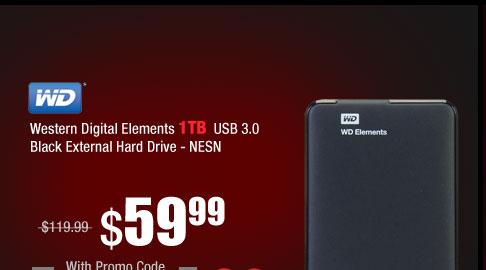 Western Digital Elements 1TB USB 3.0 Black External Hard Drive WDBUZG0010BBK-NESN