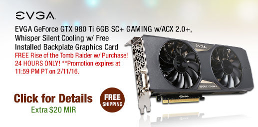 EVGA GeForce GTX 980 Ti 6GB SC+ GAMING w/ACX 2.0+, Whisper Silent Cooling w/ Free Installed Backplate Graphics Card