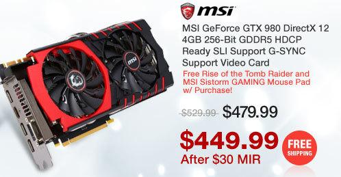 MSI GeForce GTX 980 DirectX 12 4GB 256-Bit GDDR5 HDCP Ready SLI Support G-SYNC Support Video Card