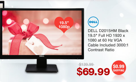 "DELL D2015HM Black 19.5"" Full HD 1920 x 1080 at 60 Hz VGA Cable Included 3000:1 Contrast Ratio"