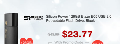 Silicon Power 128GB Blaze B05 USB 3.0 Retractable Flash Drive, Black (SP128GBUF3B05V1K)