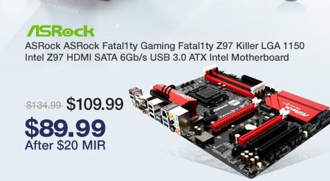 ASRock ASRock Fatal1ty Gaming Fatal1ty Z97 Killer LGA 1150 Intel Z97 HDMI SATA 6Gb/s USB 3.0 ATX Intel Motherboard
