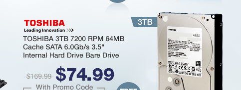 "TOSHIBA 3TB 7200 RPM 64MB Cache SATA 6.0Gb/s 3.5"" Internal Hard Drive Bare Drive"