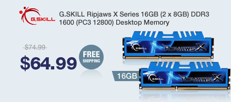 G.SKILL Ripjaws X Series 16GB (2 x 8GB) DDR3 1600 (PC3 12800) Desktop Memory