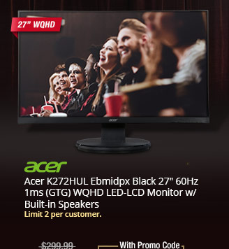 "Acer K272HUL Ebmidpx Black 27"" 60Hz 1ms (GTG) TN 2560 x 1440 (2K) LED-LCD Monitor w/ Built-in Speakers"