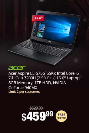 "Acer Aspire E5-575G-55KK Intel Core i5 7th Gen 7200U (2.50 GHz) 15.6"" Laptop, 8GB Memory, 1TB HDD, NVIDIA GeForce 940MX"