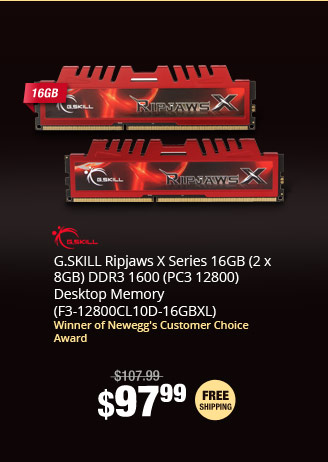 G.SKILL Ripjaws X Series 16GB (2 x 8GB) DDR3 1600 (PC3 12800) Desktop Memory (F3-12800CL10D-16GBXL)