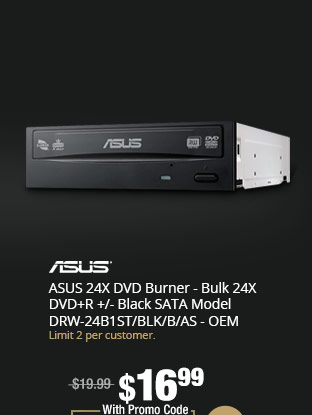 ASUS 24X DVD Burner - Bulk 24X DVD+R +/- Black SATA Model DRW-24B1ST/BLK/B/AS