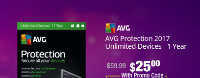AVG Protection 2017 Unlimited Devices - 1 Year