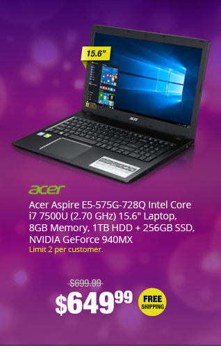 "Acer Aspire E5-575G-728Q Intel Core i7 7500U (2.70 GHz) 15.6"" Laptop, 8GB Memory, 1TB HDD + 256GB SSD, NVIDIA GeForce 940MX"