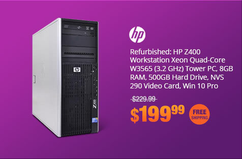Refurbished: HP Z400 Workstation Xeon Quad-Core W3565 (3.2 GHz) Tower PC, 8GB RAM, 500GB Hard Drive, NVS 290 Video Card, Win 10 Pro