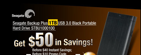 Seagate Backup Plus 1TB USB 3.0 Black Portable Hard Drive STBU1000100