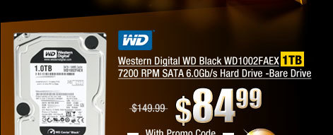 Western Digital WD Black WD1002FAEX 1TB 7200 RPM SATA 6.0Gb/s Hard Drive -Bare Drive