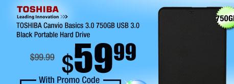 TOSHIBA Canvio Basics 3.0 750GB USB 3.0 Black Portable Hard Drive