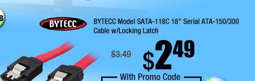 "BYTECC Model SATA-118C 18"" Serial ATA-150/300 Cable w/Locking Latch"