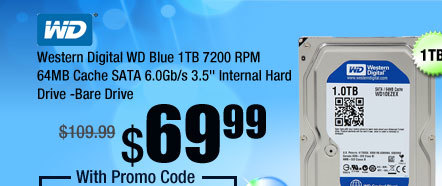 "Western Digital WD Blue 1TB 7200 RPM 64MB Cache SATA 6.0Gb/s 3.5"" Internal Hard Drive -Bare Drive"