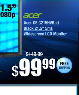 "Acer G5 G215HVBbd Black 21.5"" 5ms Widescreen LCD Monitor"