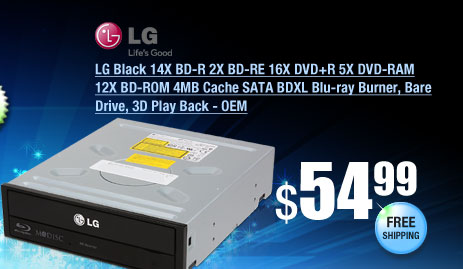 LG Black 14X BD-R 2X BD-RE 16X DVD+R 5X DVD-RAM 12X BD-ROM 4MB Cache SATA BDXL Blu-ray Burner, Bare Drive, 3D Play Back - OEM