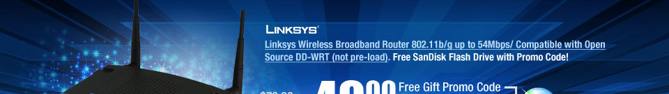 Linksys Wireless Broadband Router 802.11b/g up to 54Mbps/ Compatible with Open Source DD-WRT (not pre-load)