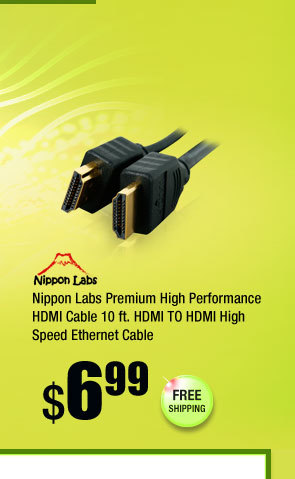 Nippon Labs Premium High Performance HDMI Cable 10 ft. HDMI TO HDMI High Speed Ethernet Cable